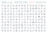 Set Vector Flat Line Icons Medicine and Health