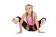 Young girl doing gymnastic exercise