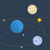 Editable Planets on Space Vector Illustration
