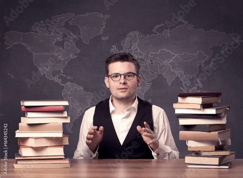 Plagát Geography teacher at desk