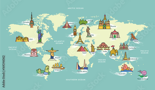 World Map with Landmark of Famous Country Symbol - 164346062