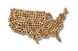 Wine-producing countries - maps from wine corks. Map of USA on white background. Clipping path included.