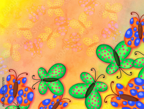 A digitally created watercolor background effect with painted butterflies forming a canvas border.