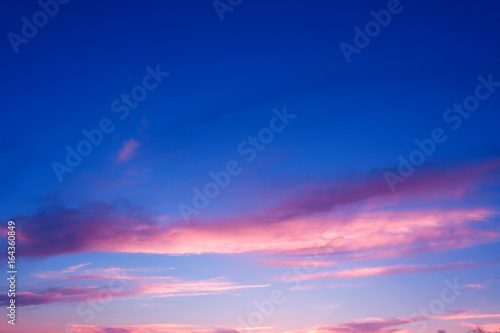 Sunset and sunrise blue and purple color sky background. Summer or spring meadow nature
