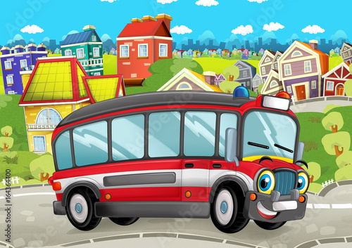 happy and funny cartoon bus looking and smiling driving through the city - illustration for children - 164364400