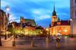 Warsaw's Old Town by night. Stare Miasto, Zamek Królewski w Warszawie - 164366287