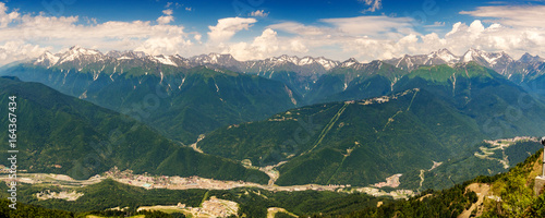 Panorama of the top of the Caucasus mountains