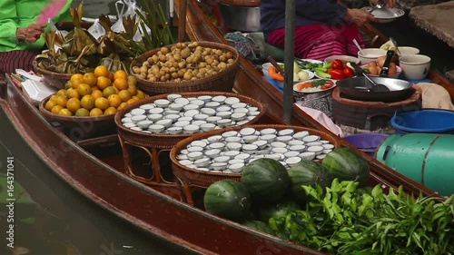 Fruits and vegetables were sold on boat the Damnoen saduak floating market is famous in Thailand