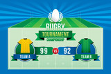 Rugby ball design on green field background with team players and scoreboard.