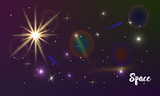 Galaxy space background with sparkling stars, rays and meteorites on cosmic background.