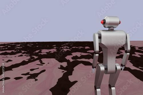 Plexiglas Nasa 3d illustration of Mars planet colony robot exploring surface