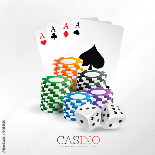 casino playing cards and chips with dice vector background