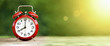Summertime - web banner of a retro red alarm clock on green background