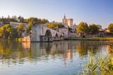 Avignon Bridge with Popes Palace in Provence, France - 164388688