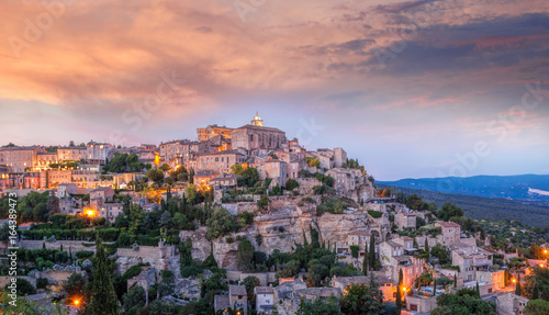 Poster Nice Famous old village Gordes in Provence against sunset in France