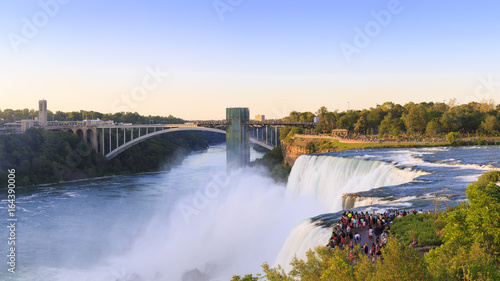 Panoramic view of the Amazing Niagara Falls in the USA overlooking Canada on a sunny day. Photo by Bastos