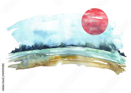 Fototapeta Watercolor landscape. The shore of the river, against the background of a green forest, a blue sky and red sun.