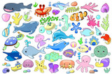 Sea animal and fish cartoon vector illustration. Marine animals clipart.