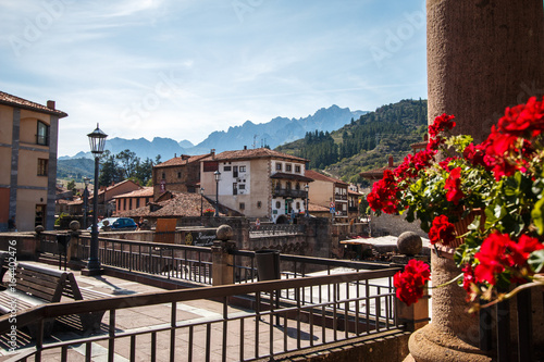 Town of Potes, in peaks of Europe, Cantabria, Spain.