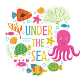 Under the sea card with marine animals -  vector illustration, eps