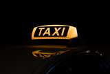 taxi sign illuminated, taxi sign at night - 164406218