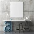 Industrial design working space, mock up poster, 3d illustration - 164407875