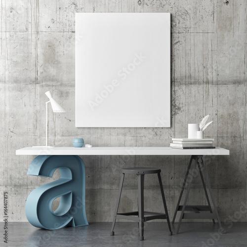 Industrial design working space, mock up poster, 3d illustration