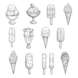 Ice cream vector sketch icons of fresh desserts - 164415041
