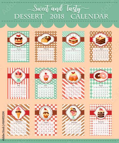 Calendar template 2018 of bakery vector desserts