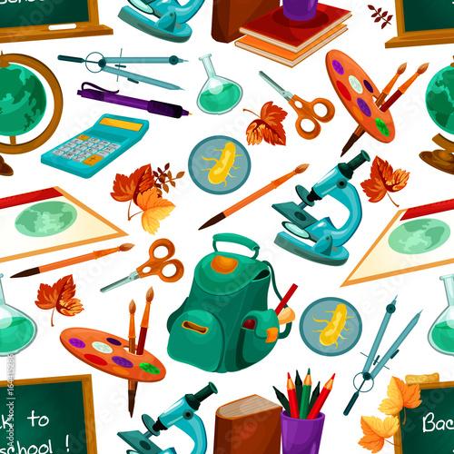Vector school supplies seamless pattern
