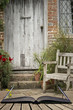 roleta: Typical quintessential old English country garden image of wooden chair next to vintage back door concept coming out of pages in open book