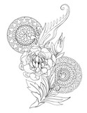 Decorative drawing of peony flowers, patterns and mandalas, tattoo, sketch - 164423849