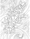 Decorative, abstract drawing of peony flowers and patterns, tattoo, sketch - 164423891