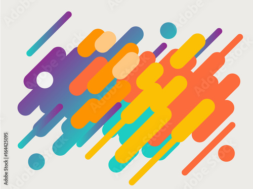 Colorful modern style abstract graphic with composition from various rounded shapes - 164425095