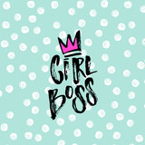 trendy hand lettering poster.   sketch hand drawn calligraphy Girl Boss