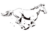 A galloping horse. Stock illustration. - 164429483
