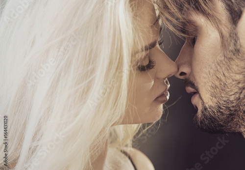 Closeup portrait of a kissing couple