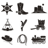 Wild West flat set icon - 164431693