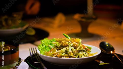 Food. Salad tea leaves