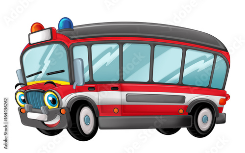 Cartoon happy and funny cartoon fire fireman bus looking and smiling - illustration for children - 164436262