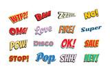 set of comic phrases