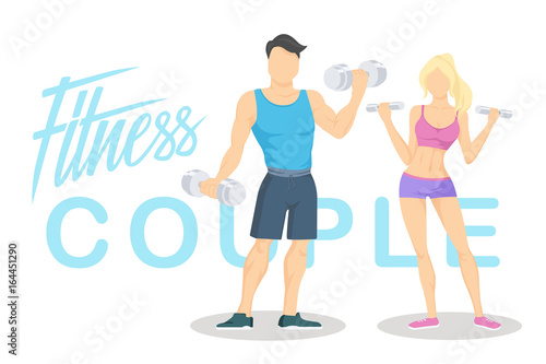 Fitness young sporty couple with dumbbells. Workout partners. Flat vector illustration with hand lettering.