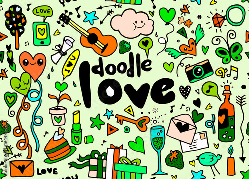 Love hand lettering and doodles elements sketch background. seamless background doodle vector.