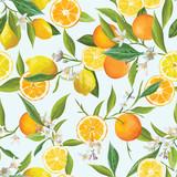 Orange i Limon Jednolite tropikalny wzór wektora. Ilustracja kwiatów, liści i owoców.