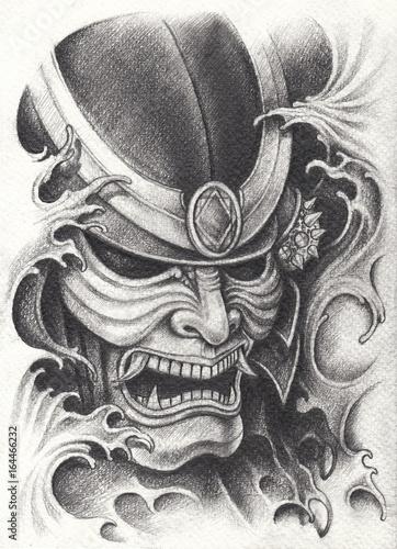 projekt-tatuaz-wojownik-samuraj-rysunek-olowkiem-na