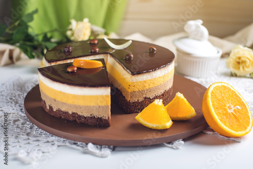 Orange chocolate cake with layers of souffle, a Delicious homemade dessert