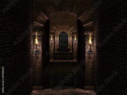 corredor-medieval-y-puerta-del-castillo-de-hierro