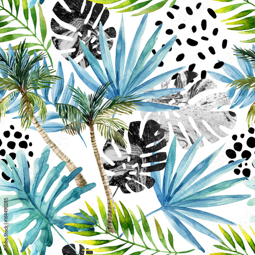 Hand drawn abstract tropical summer background - 164490285