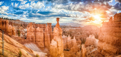 Bryce Canyon National Park at sunrise with dramatic sky, Utah, USA