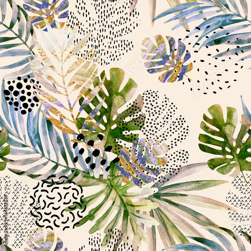 Abstract palm, monstera leaf seamless pattern. - 164492079